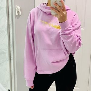 Nike oversized pink hoodie with gold logo